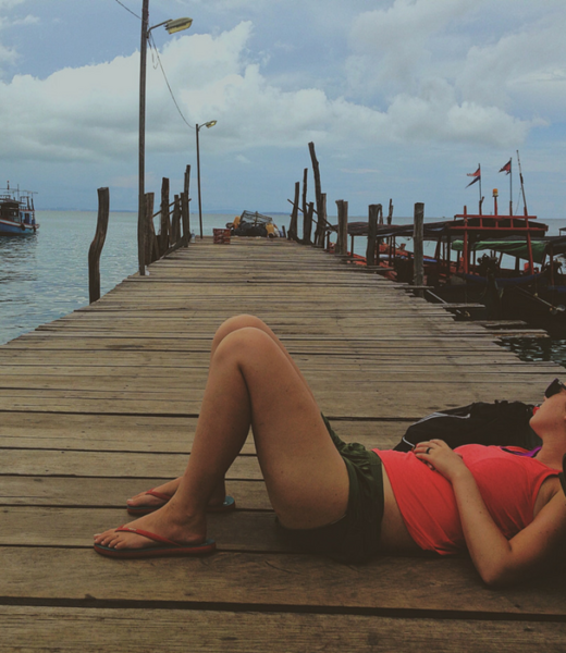 Lounging on a fishing dock in Koh Rong, Cambodia