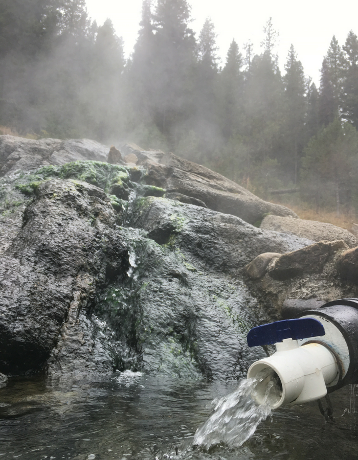 The cold spout at Trail Creek Hot Springs