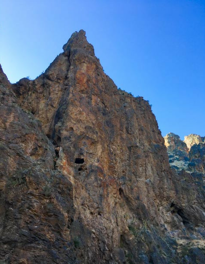 A cliff face at Jump Creek Reservoir