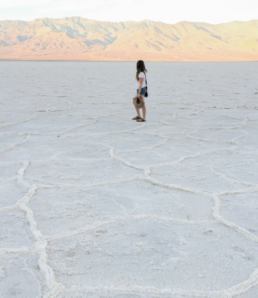 Standing in the salt flats at Badwater Basin in Death Valley National Park