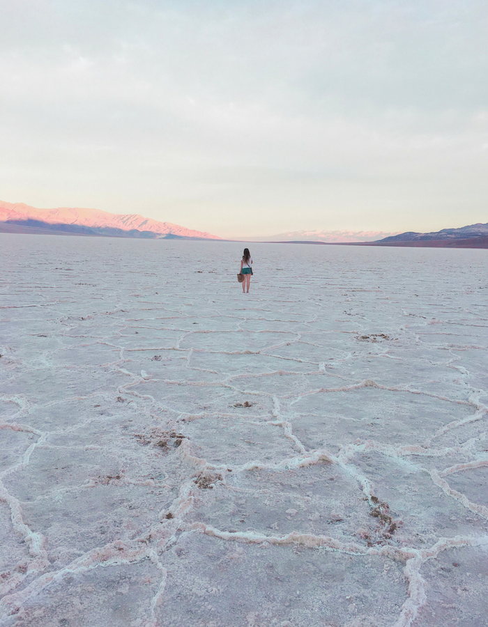 Badwater Basin Salt Flats at Sunrise in death valley National Park
