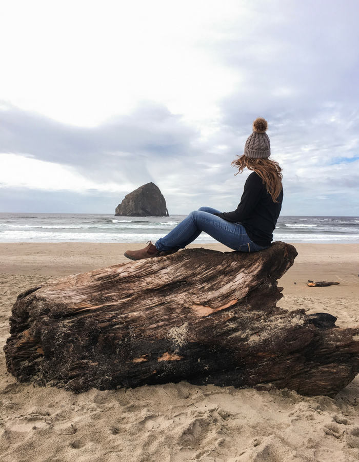 Sitting on a log overlooking Haystack Rock near Pacific City