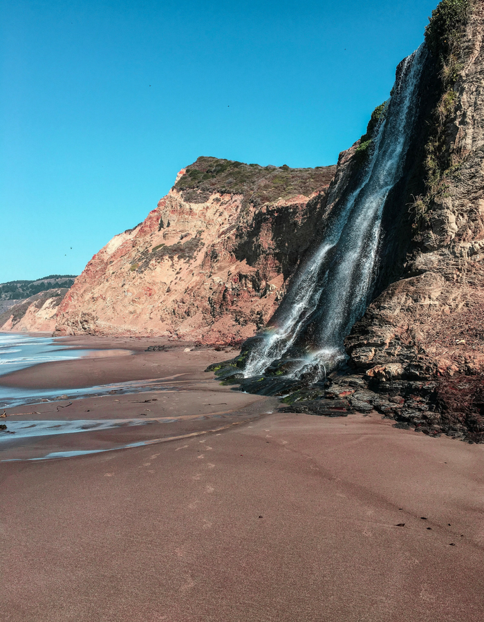Alamere Falls from the side at Point Reyes National Seashore in California