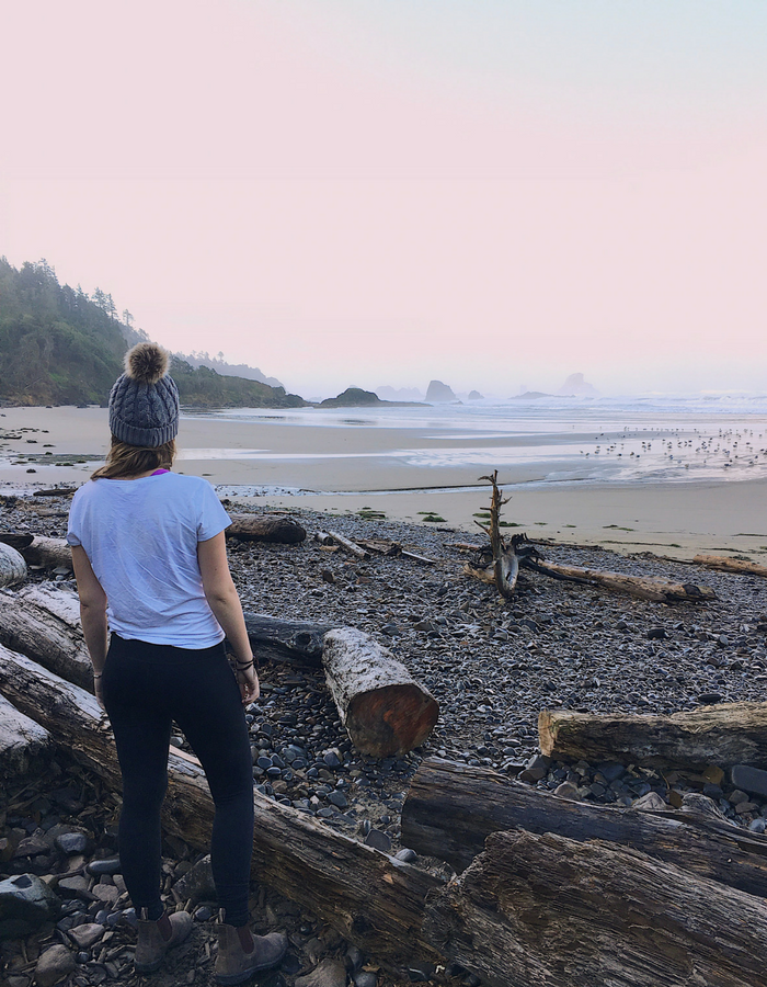 Standing on Indian Beach in Ecola state Park