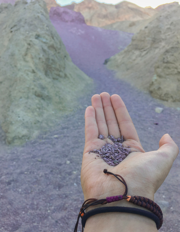 The pretty purple rock in Artists Palette - Death Valley National Park