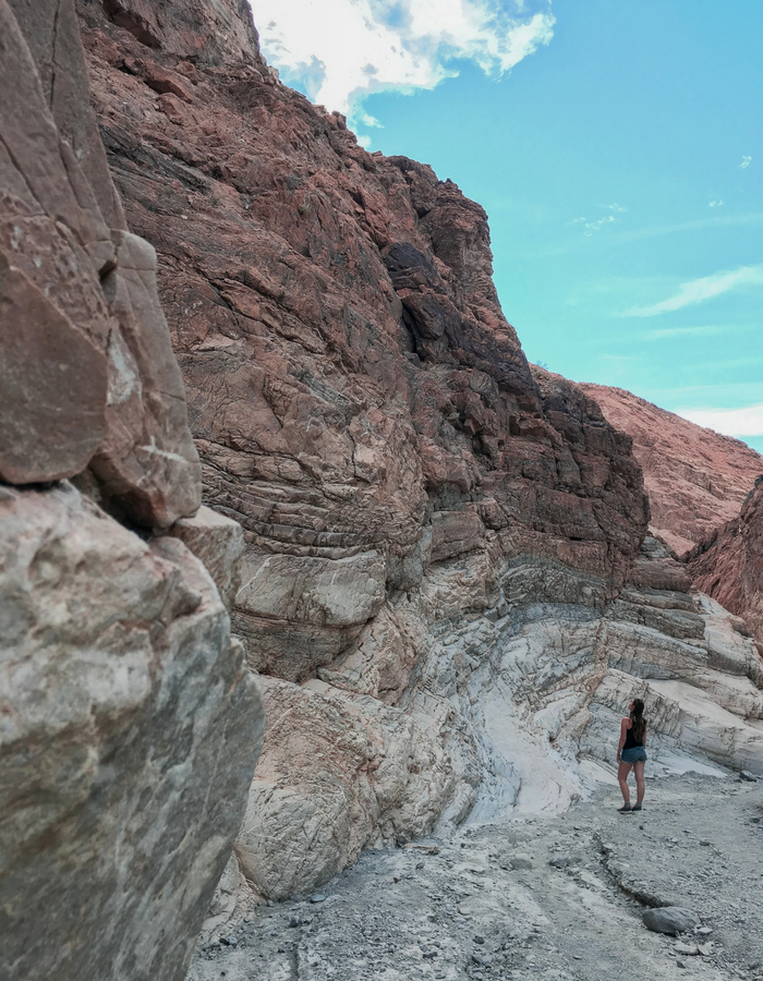 Admiring the cliffside in Mosaic Canyon, Death Valley