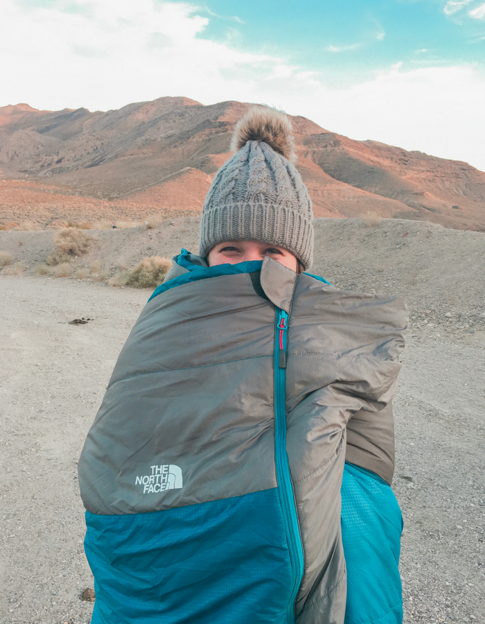Wrapped up in my North Face Dolomite II sleeping bag - ready for Netflix and chill