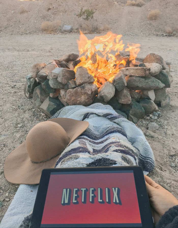 Watching Netflix while camping