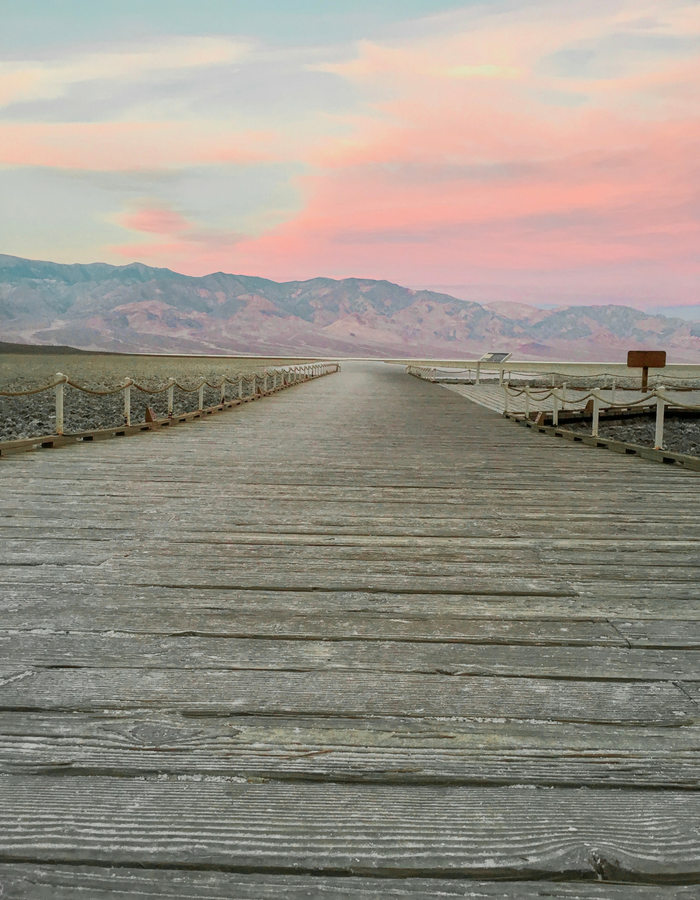 The walkway to Badwater Basin Salt Flats in Death Valley