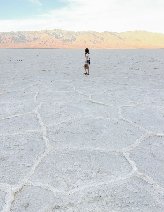 Standing in Badwater Basin Salt Flats