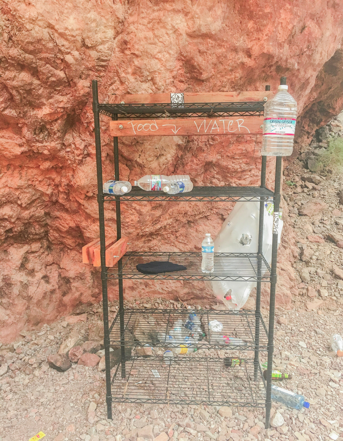 A watering station for hikers on the Gold Strike Hot Spring Trail