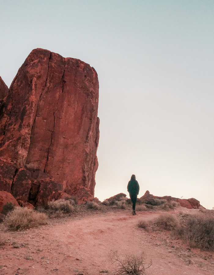 Walking towards the Fire Wave in Valley of Fire State Park