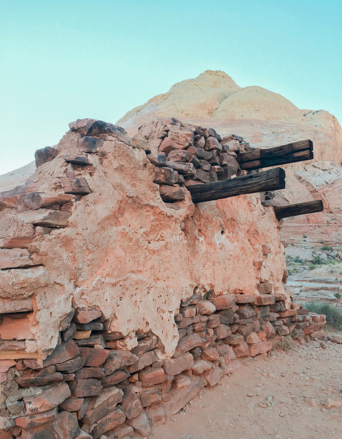 Ruins of the film set from The Professionals along White Domes Trail in the Valley of Fire