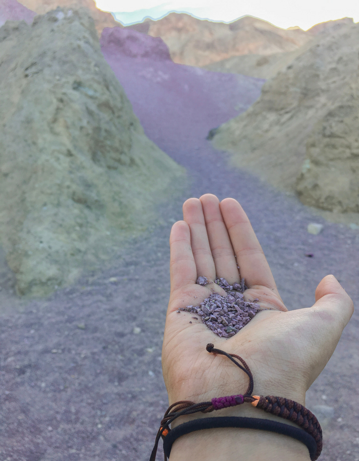 Admiring the purple rocks of Artists Palette in Death Valley
