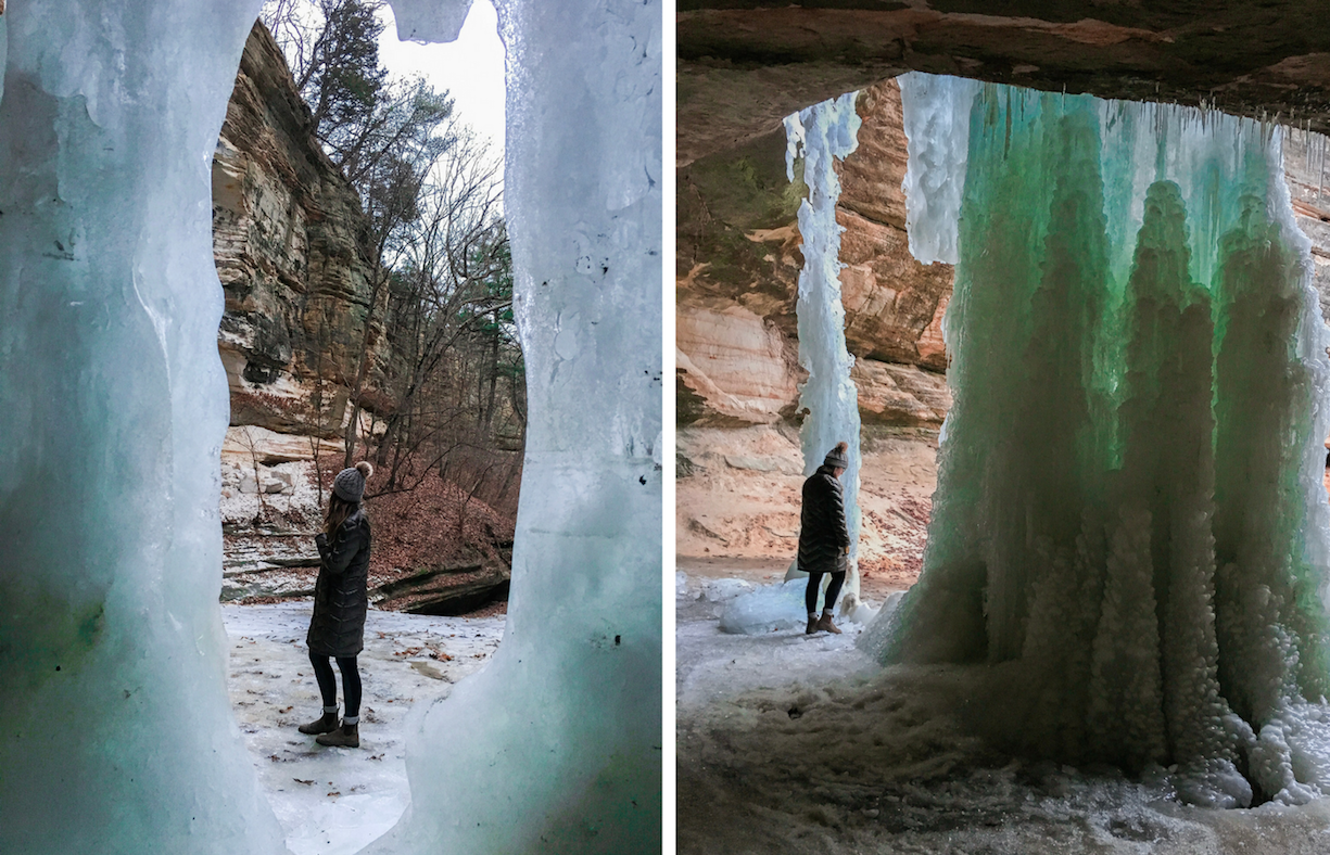 Admiring the ice fall of LaSalle Canyon in Starved Rock State Park