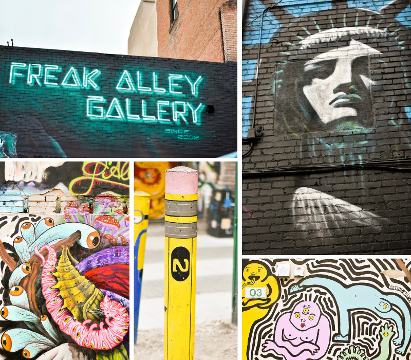 Boise Freak Alley Gallery Street Art murals: Neon sign, Lady Liberty, Trippy Fungus, Pencil Bollard, Cartoon People