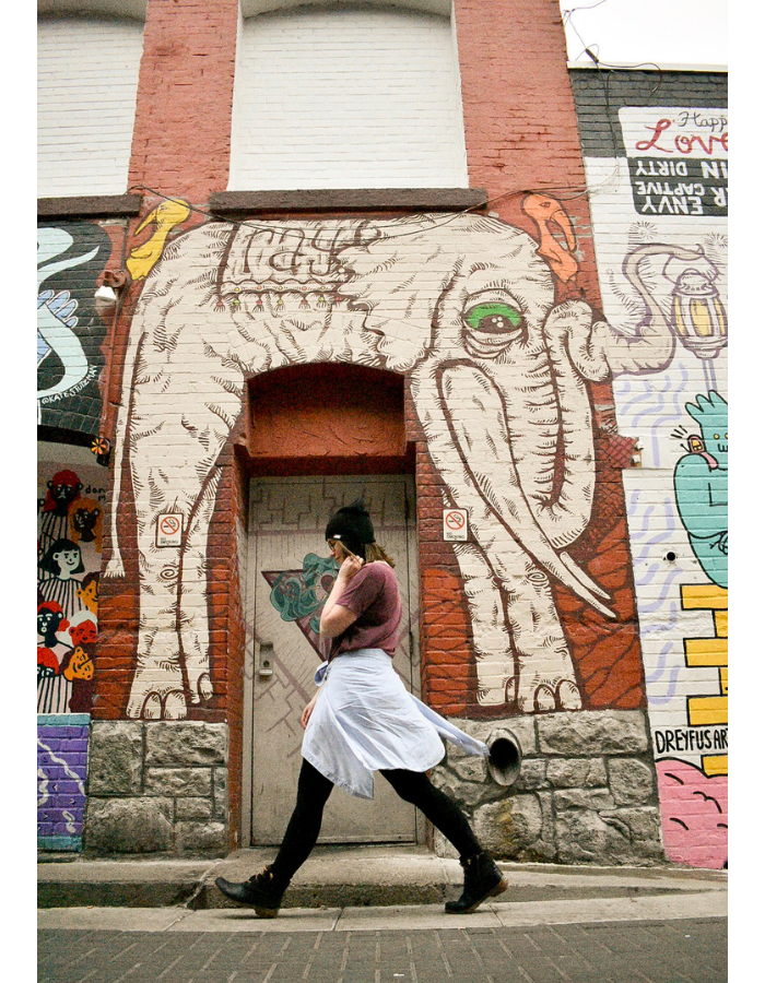 Strolling past Ray the Elephant: A street art wall mural enclosing a door frame.