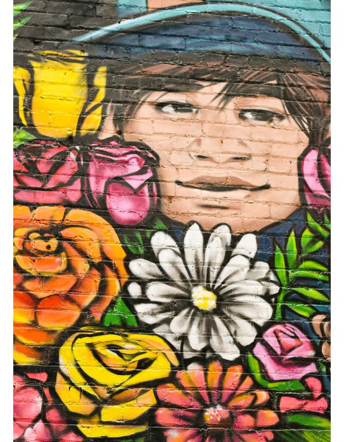 Beautiful, colorful flower bouquet in Boise's freak alley