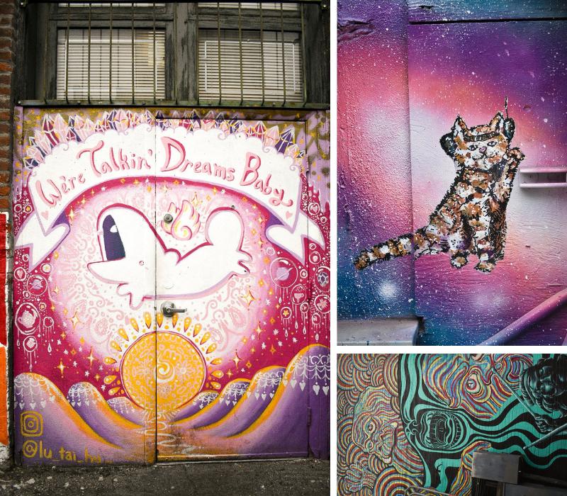 Street Art in Boise: We're Talking Dreams Baby, Astro Kitty, Rainbow Swirl Pink Floyd