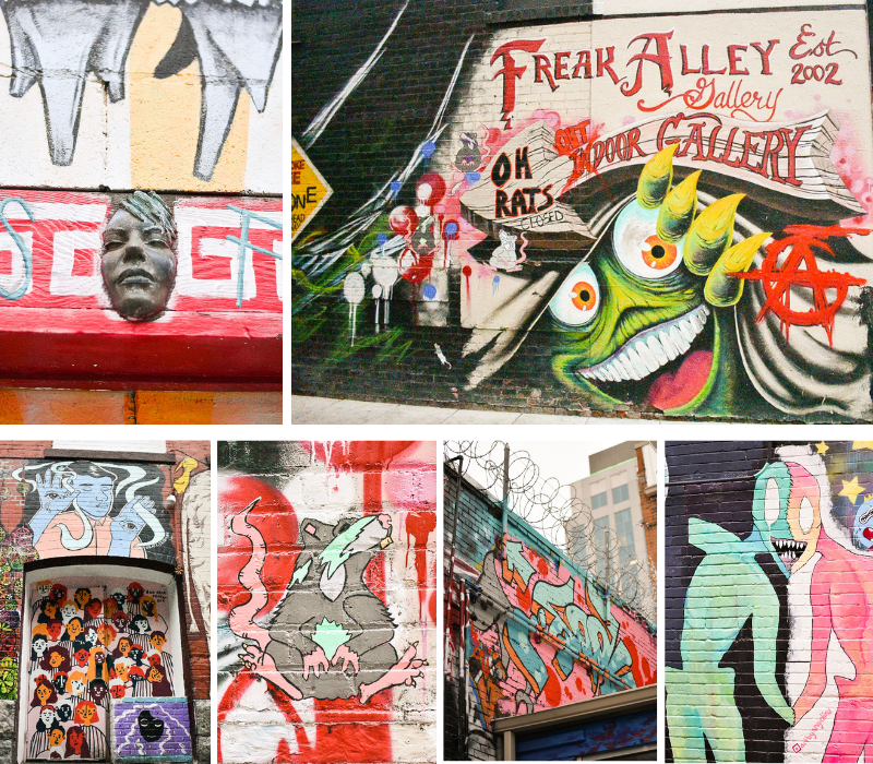 """Another Freak Alley Gallery Collection: A statue of a face emerging from the door frame, Freak Alley Gallery entrance sign, A painted door with many different faces, """"Street Rat"""", A hidden mural beneath the barbed wire, 2 bodies and 1 face."""