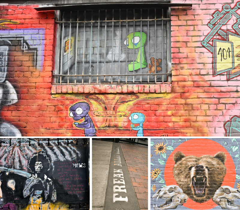 More of Boise's Street Art in Freak Alley: An adorably sad prisoner, Jimi Hendrix made of mirrors, Freak Alley entrance, A growling bear