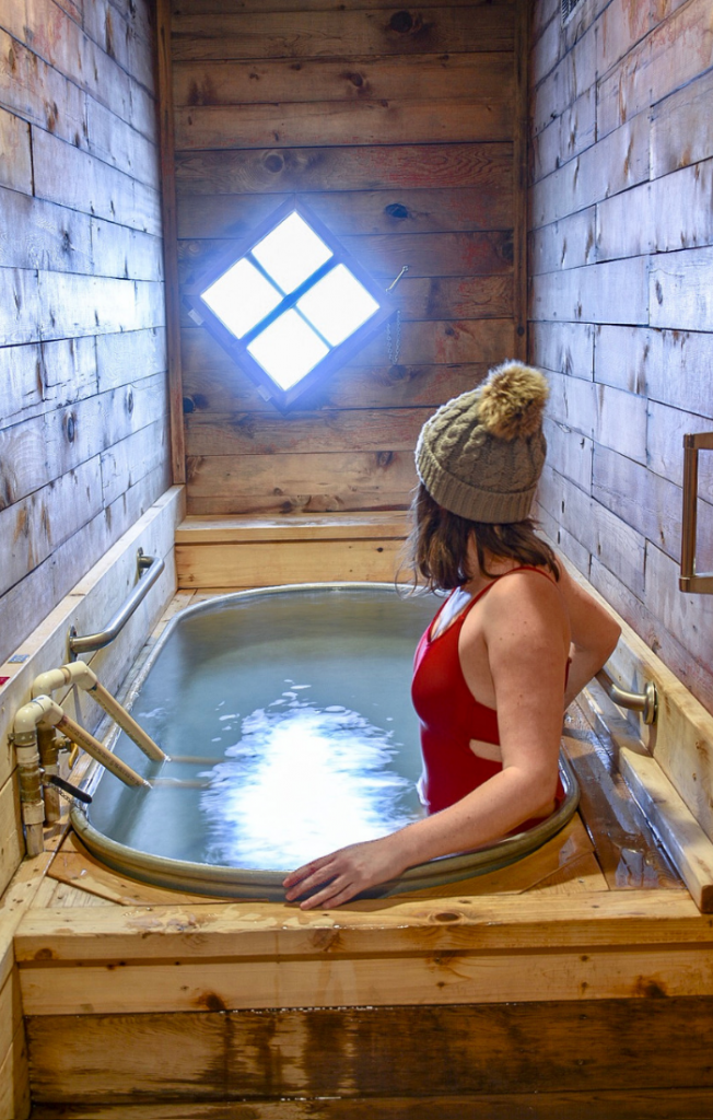 Soaking in Tub #5 - a you-fill hot springs tub at Crystal Crane Resort