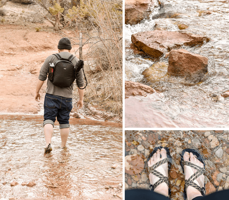 River crossings on the hike in to Kanarra Falls
