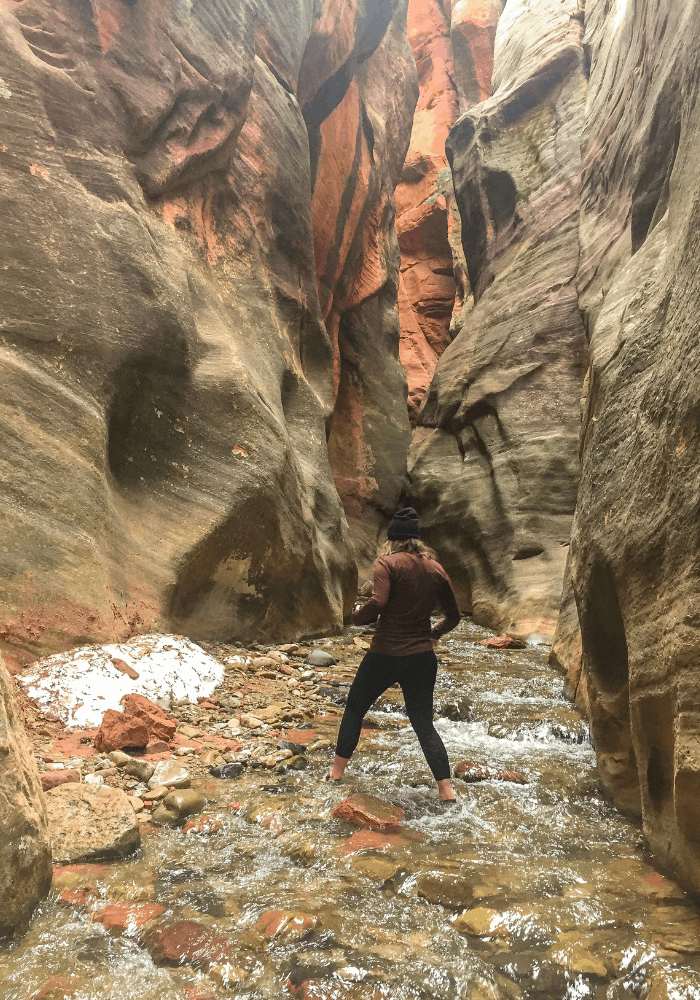 "Making my way through the river in the ""Mini - Narrows"" section of the Kanarra Falls trail"